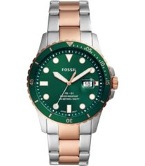 fossil men's fb-01 sport two-tone bracelet watch 42mm