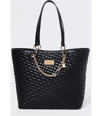 river island womens black woven gold chain shopper bag