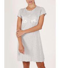 pyjama's / nachthemden admas love pucker nachthemd met korte mouwen grijs