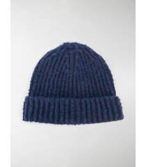 maison margiela four-stitch ribbed-knit beanie
