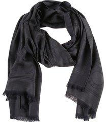 salvatore ferragamo logo print frayed scarf