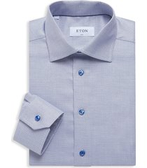 eton men's textured slim-fit dress shirt - blue - size 16