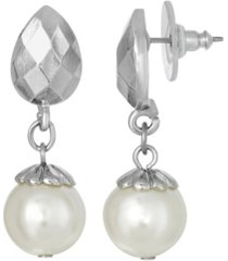 2028 silver-tone imitation pearl drop earring
