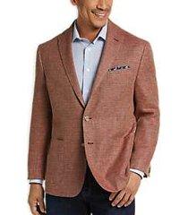 joseph abboud rust tic wool & linen modern fit casual coat