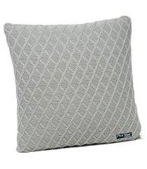 capa de almofada tricot 50x50 c/zíper sofa cod 354.7 cinza claro