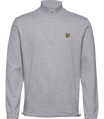 1/4 zip pique sweatshirt knitwear half zip jumpers grå lyle & scott