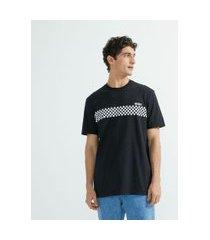 camiseta manga curta estampa faixa grid   blue steel   preto   p