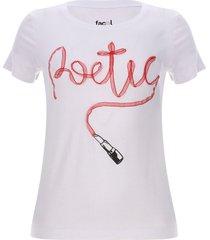 camiseta poetic color blanco, talla xs