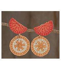 natural fiber dangle earrings, 'tangerine stars' (honduras)