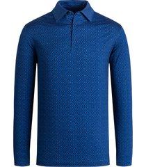 men's bugatchi ooohcotton regular fit tech knit button-up shirt, size large - blue