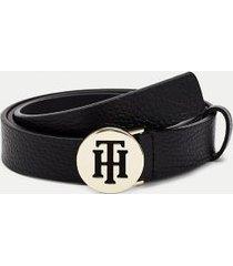 tommy hilfiger women's th round leather belt black - 36