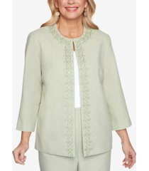 alfred dunner petite springtime in paris scroll-embroidered jacket