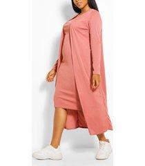 plus geribbelde midi en kimono jurk, rose