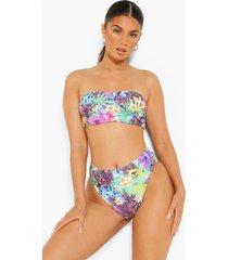 tropische strapless bikini top, purple