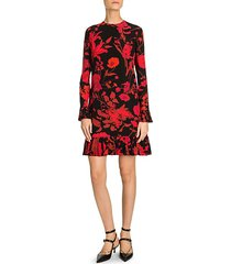 floral flounce hem silk dress