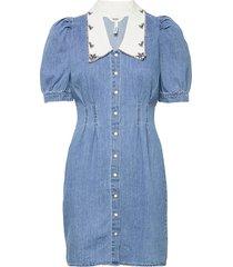 objzoe 2/4 denim dress dresses jeans dresses blå object