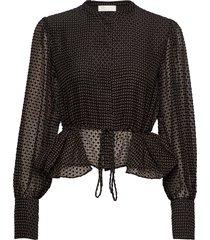 ren, 696 velvet devore blouse lange mouwen zwart stine goya