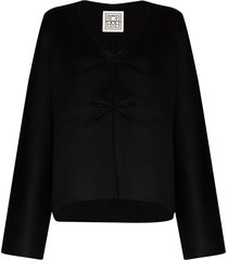 totême tie-front long-sleeve cardigan - black