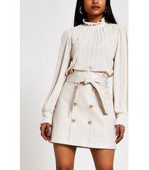 river island womens petite cream button through mini skirt