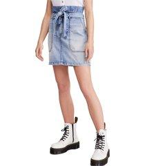 women's free people splendor in the grass paperbag high waist denim skirt, size 2 - blue