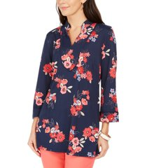 charter club floral print split-neckline tunic, created for macy's
