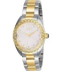 reloj invicta acero dorado modelo 288ai para dama, colección wildflower