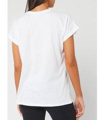 balmain women's short sleeve glitter logo t-shirt - white - l