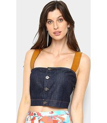 blusa forum cropped jeans feminina