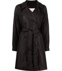 moncler padded mid-length belted trench coat - black