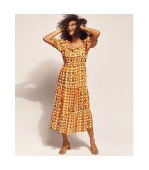 vestido feminino emi beachwear estampado picnic midi com manga bufante e decote reto laranja