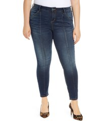 plus size women's slink jeans high waist center seam ankle jeans