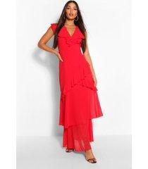 lang geweven gebloemde maxi-jurk met v-hals en ruches, rood