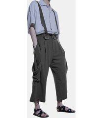 tuta da uomo allentata moda vintage tinta unita gamba larga casual pantaloni per uomo