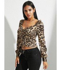 yoins cuadrado de leopardo con cordones cuello top de manga larga