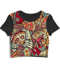 blusa feminina cropped tshirt estampada - feminino