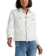 lucky brand faux-fur-trim tomboy trucker jacket