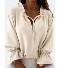 camicetta casual da donna con scollo a v manica lunga tinta unita fasciatura