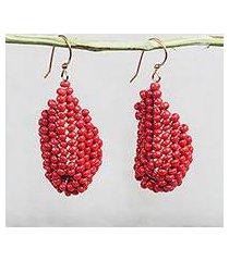 recycled plastic beaded dangle earrings, 'red curve' (ghana)