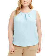 nine west plus size pleated-neck blouse