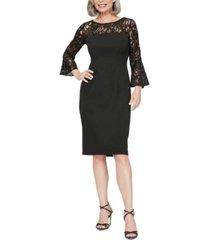 alex evenings lace-illusion sheath dress