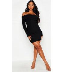 mini-jurk met boothals, dubbele laag en scuba ribgebreide strepen, zwart