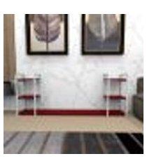 aparador industrial aço cor branco 180x30x68cm (c)x(l)x(a) cor mdf vermelho modelo ind30vrapr