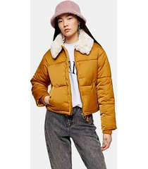mustard padded puffer jacket with faux fur collar - mustard