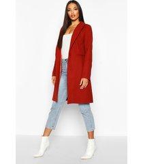 tailored wool look coat, rust