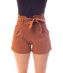short moda vicio com pregas e faixa amarração cintura feminino