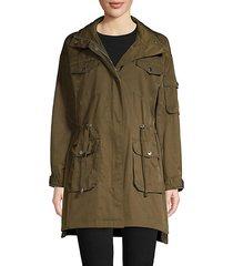 hooded cotton blend coat