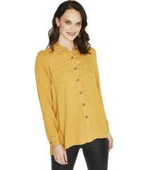 blusa manga larga liso mostaza curvi