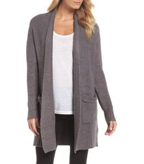 women's barefoot dreams cozychic lite long weekend cardigan, size medium - grey