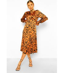 satijnen luipaardprint midi jurk met ronde zoom, tan