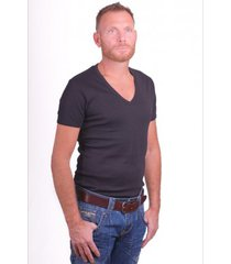 garage t-shirt deep v-neck semi bodyfit black ( art 0304)
